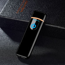 USB Charging Lighter Touch Screen Electronic Cigarette Lighters Small Rechargeable Electric Lighter Windproof Men Gift