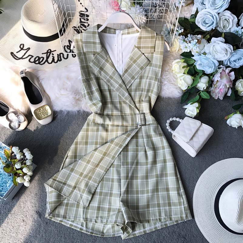 NiceMix Women 39 s Jumpsuit Female Summer Clothing 2019 New Chic Plaid Suit Neck Sleeveless Waist Slim Legs Overalls for Women in Rompers from Women 39 s Clothing