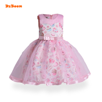 DzBoom Girls Dress Pink Donuts Print Baby Dresses Princess Children Party Frocks Tutu Tulle Fancy Kids Wedding Clothing For Girl