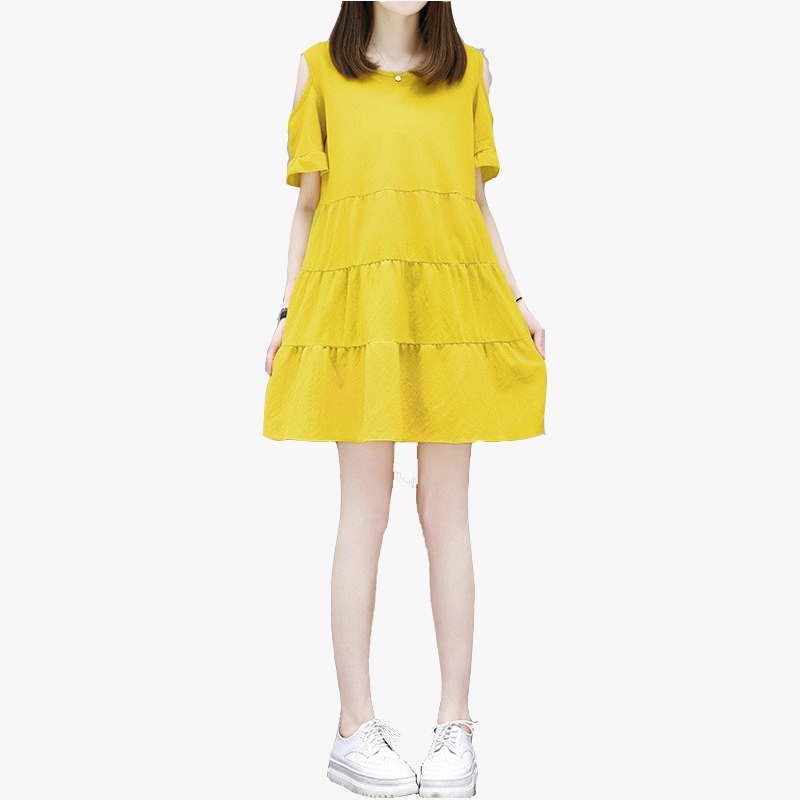 Hot Sale Yellow Dress Summer Dresses Casual Loose Round Neck Women