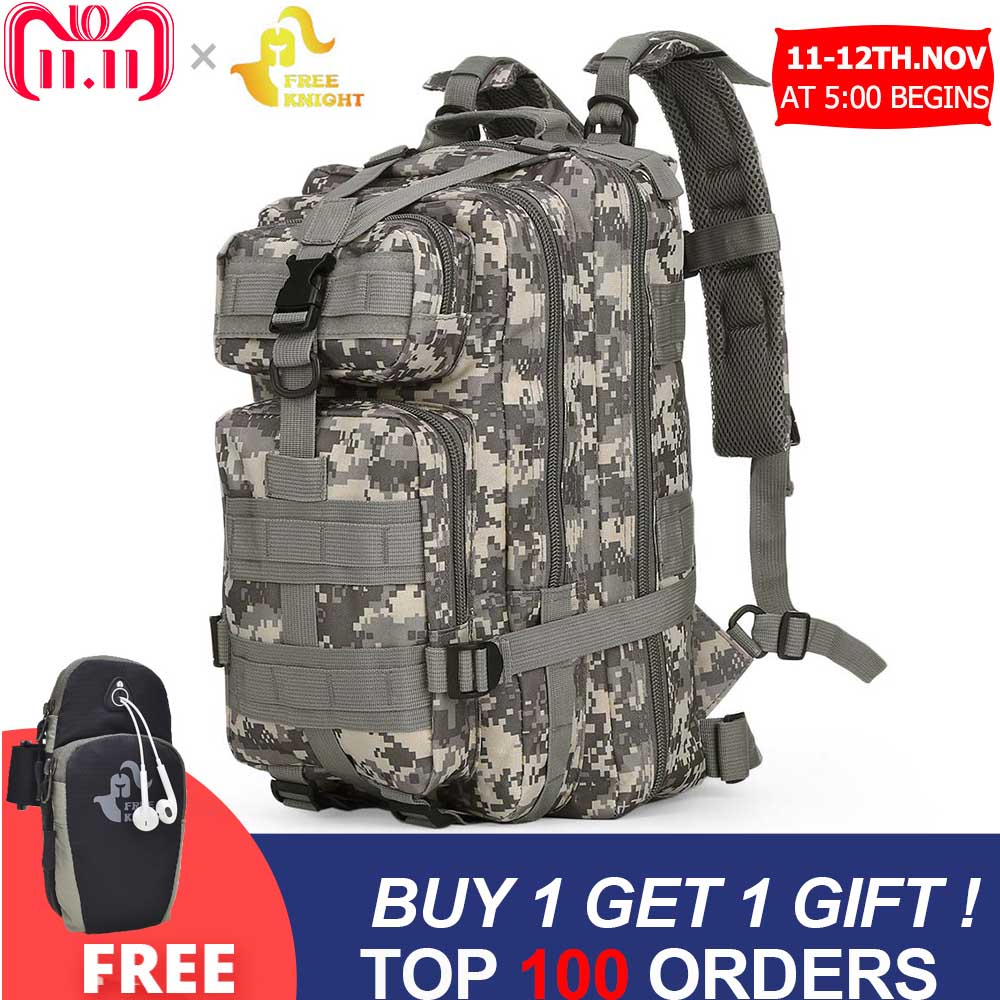 Free Knight 3P Military 30L Backpack Army Tactical Backpack Outdoor Bags Trekking Camping Hiking Camouflage Bag
