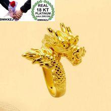 OMHXZJ Wholesale European Fashion Man Party Wedding Gift Dragon Resizable 18KT Yellow Gold Ring RR753