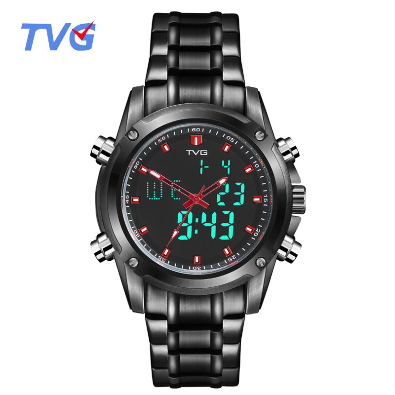 TVG Men Sports Watches Men's Quartz Dual Display Military Waterproof LED Digital Wristwatches Stainless Steel Relogio Masculino tvg 579 luminous led military outdoor sports wristwatch men multifunction dual time watches