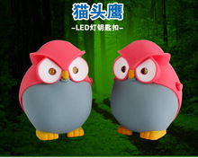 The new design red cute owl LED key chain pendant Personality cartoon gift mini flashlight sounds lingt keychain BS-350