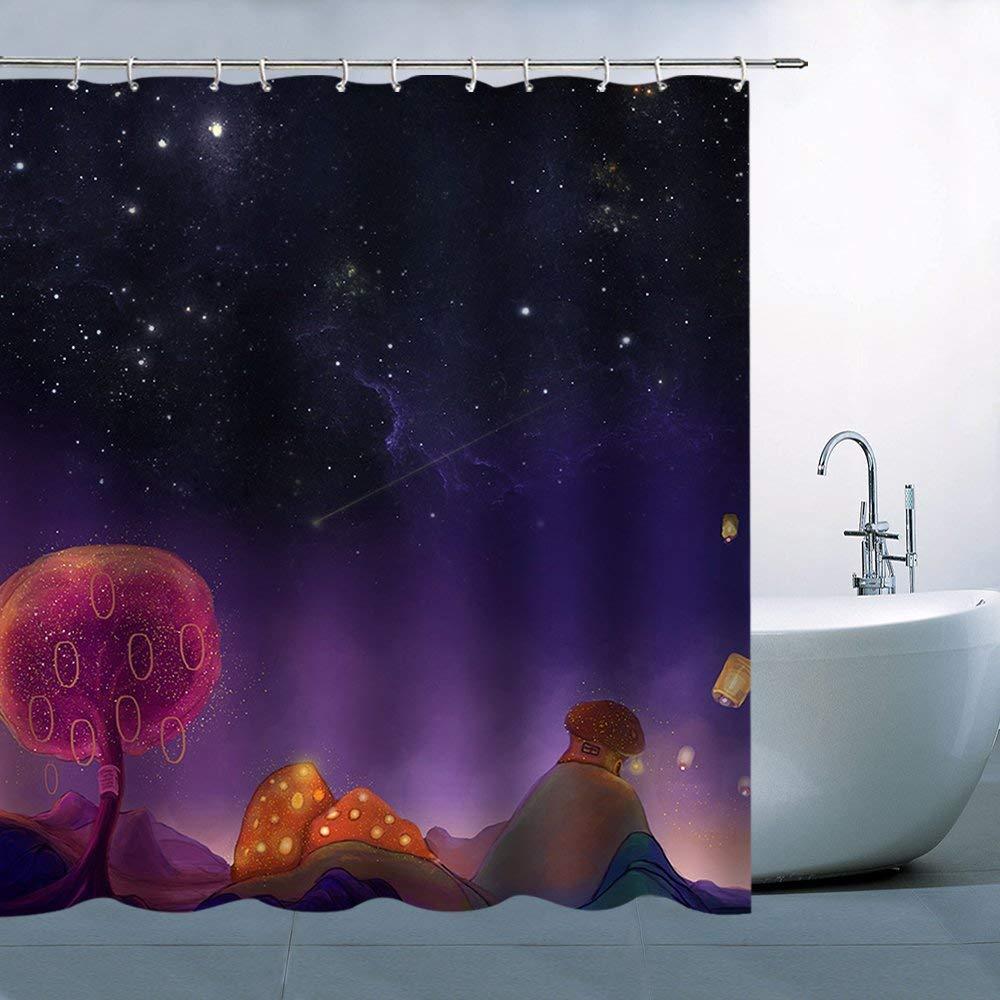 "Mushroom With Wooden Door For Kids Bathroom Fabric Shower Curtain Waterproof 71/"""