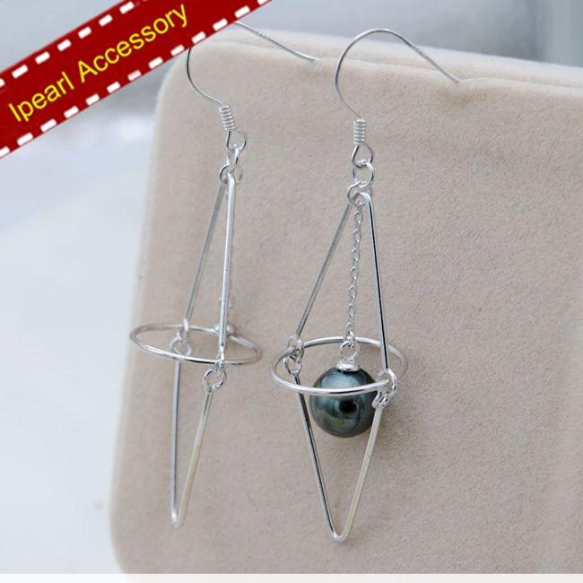 S925 Sterling Silver Drop Earrings Holder Women DIY Pearl Universe Design Earrings Jewelry Findings Components 3Pairs