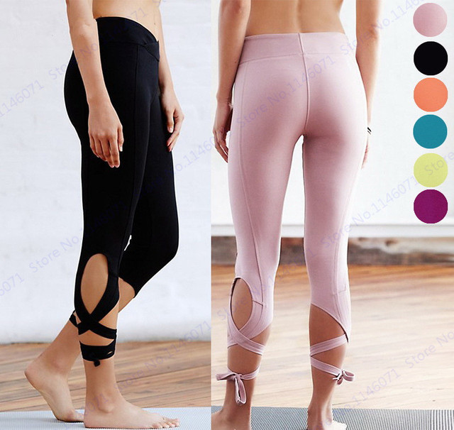 62b3082e91dd8 Candy Color Capri Pants Bandage Infinity Turnout Leggings Womens Sports Yoga  Pants Ballet Dancing Running Tights Black Pink