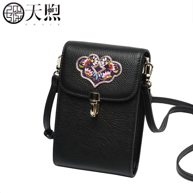 Hand-embroidered leather mobile phone bag female 2019 new first layer cowhide mini bag femaleHand-embroidered leather mobile phone bag female 2019 new first layer cowhide mini bag female