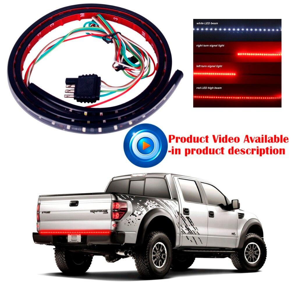 """""""1x22W 49"""""""" гибкий светодиодный автомобилей грузовик багажника свет бар красный и белый 12V 72LED работает тормоз обратного сигнала задней полосы света лампы"""""""