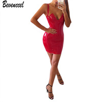 Bevenccel Chic Vestiti Donna 2018 Nuovo Senza Maniche Cinghie Con Scollo A V Sexy Celebrità Abiti Mini Night Out Party Dress Vendita Calda