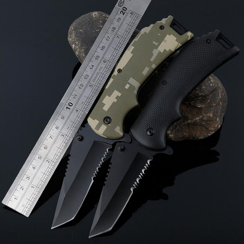 Outdoor Tactical Folding Blade knife EDC Tool Faca Utility Survival Saw Knife Camping Hunting climbing Knives Camouflage knife