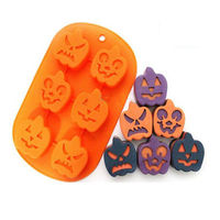 Familie backen kuchen pop formen 6 löcher Halloween kürbis gesicht silikon bakeware schokolade silikon nonstick form kostenloser versand