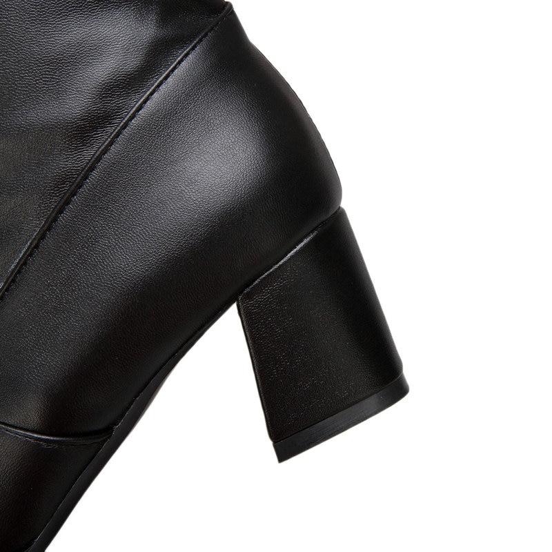 Negro 43 La Encaje Zapatos 42 Hasta blanco Martin Otoño Grande Mujer Flock Vestido De Altos Rodilla Mujeres Invierno negro Talla 2019 Blanco Para Botas Tacones pw1OnPqY