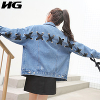 [XITAO] Autumn New Women Casual Solid Color Jeans Jacket Turn-Down Collar Full Short Preppy Style Cross Ribbon Jacket KY963