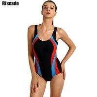 Riseado 2017 Latest One Piece Swimsuits Patchwork Swimwear Brand Backless Swimwear With Padding Bathing Suits
