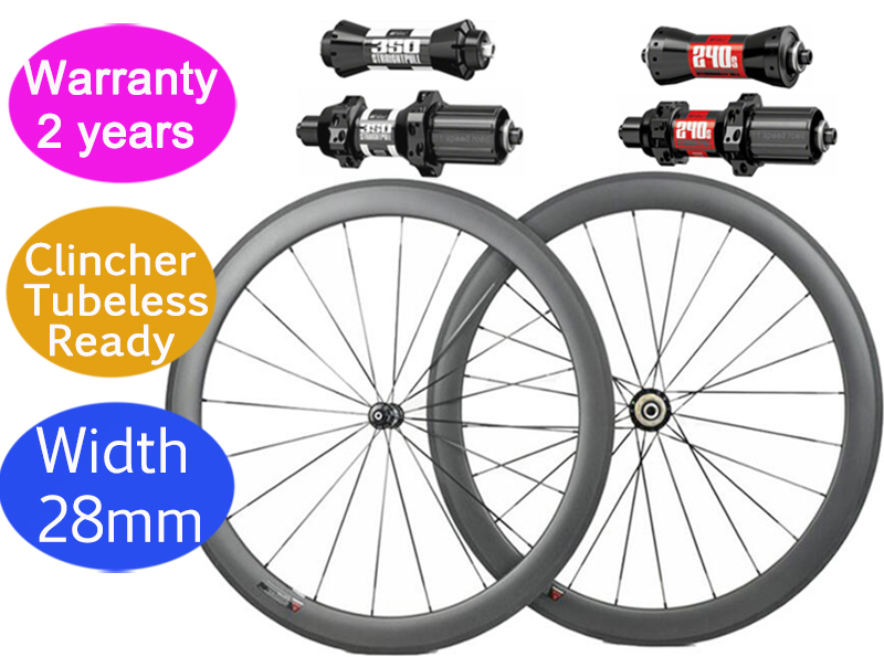 Width 28mm DT 350S  240S Carbon Road Bike Wheels Clincher Tubeless Ceramic Hub High TG Customized Logo 38mm/50mm Wheelset 700C