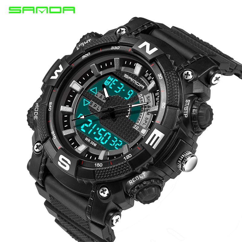 S Shock Men Sport Watch SANDA Luxury Brand Analog LED Digital Quartz Watch Waterproof Military Men Wrist Watch Relogio Masculino smael lady watch for woman sport waterproof watch top brand luxury men digital wrist watch 1632 children nurse valentine watch