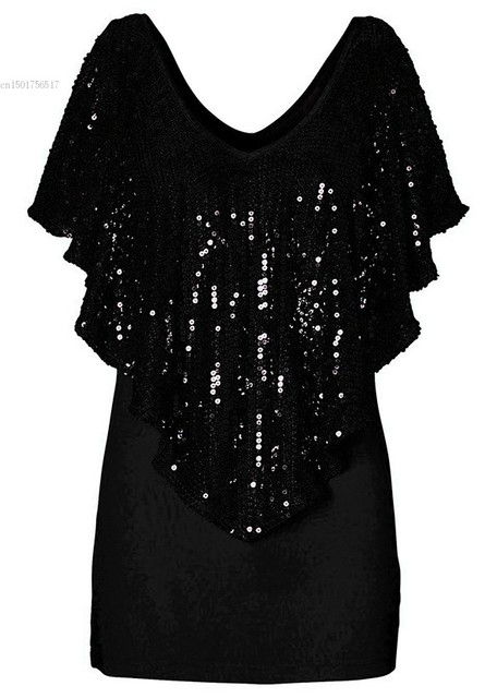 Loose Sequin Glitter Short Sleeve Casual T-Shirt