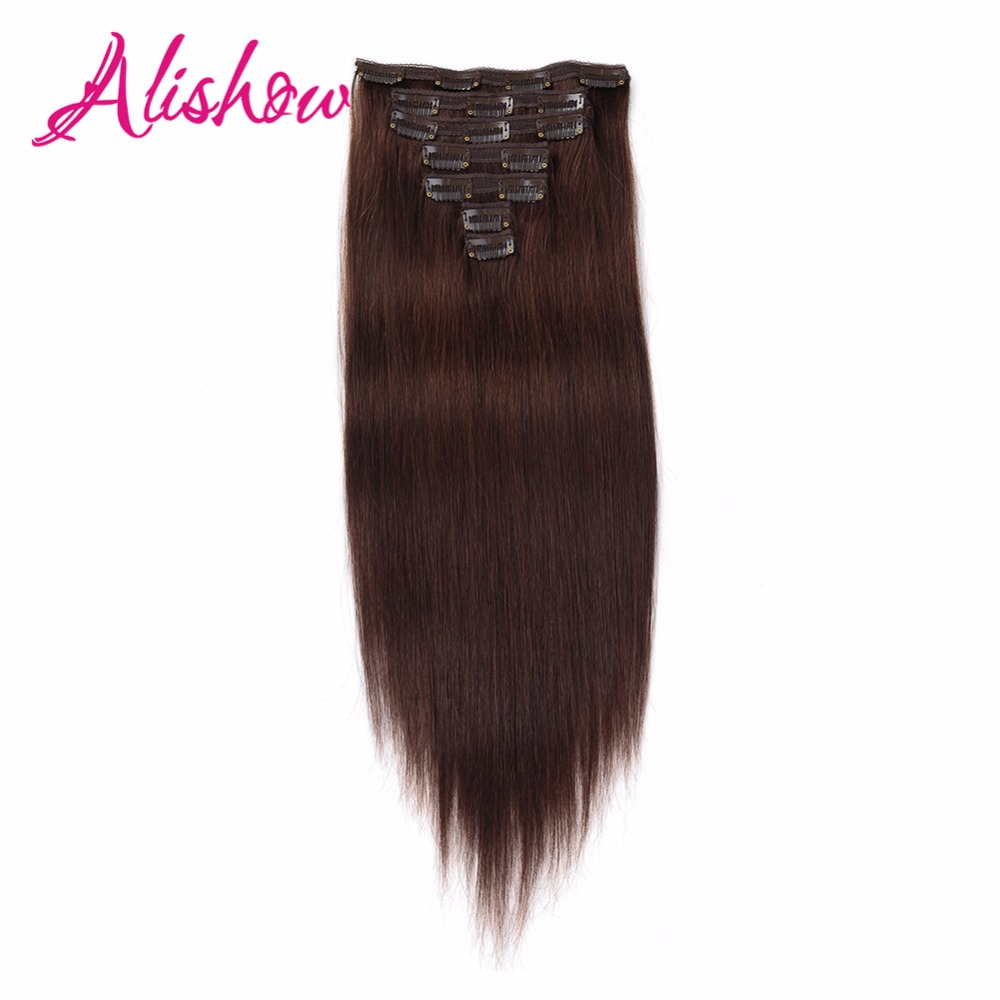 Alishow 14inch 20inch Clip In Human Hair Extensions 7pcsset 100g