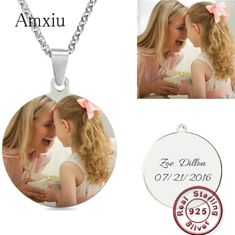 Amxiu Custom 925 Sterling Silver Necklace Engrave Name Words Pendant Necklace Jewelry For Women Girls ID Tags Personalized Gift