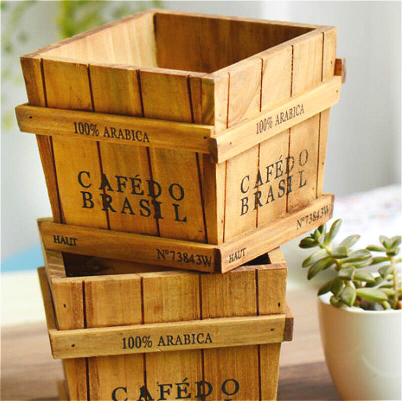 Image 4 - Solid Wood Retro Fleshy Plant Receives Candy Barrels Trays Desktop Receptacle Boxes Potted Wooden Box Gardening Pots Baskets-in Flower Pots & Planters from Home & Garden
