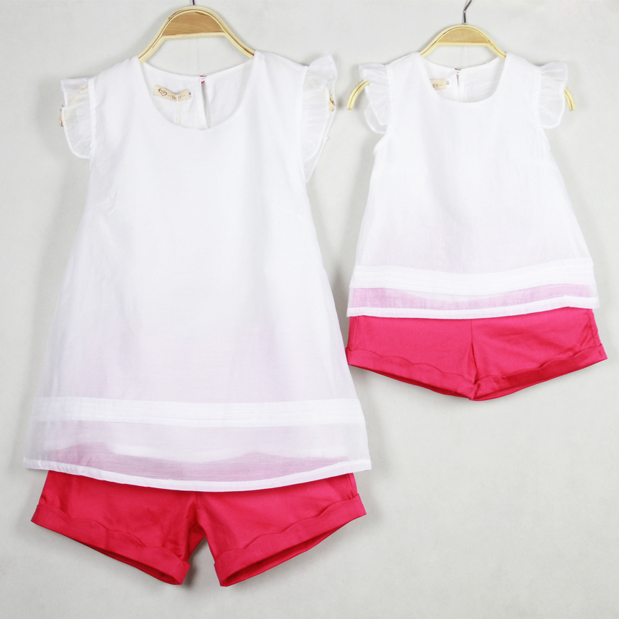 2015 mother and daughter clothes summer style huarache family look mom and  daughter clothing set t shirt+shorts sport suit,in Matching Family Outfits  from