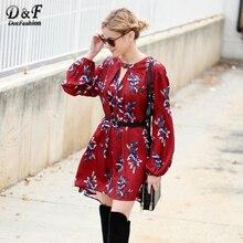 2016 Vintage BOHO Платья повседневные Стиль модные Корейский бренд платья цвет красного вина Oxblood багги с длинным рукавом Цветочный платье
