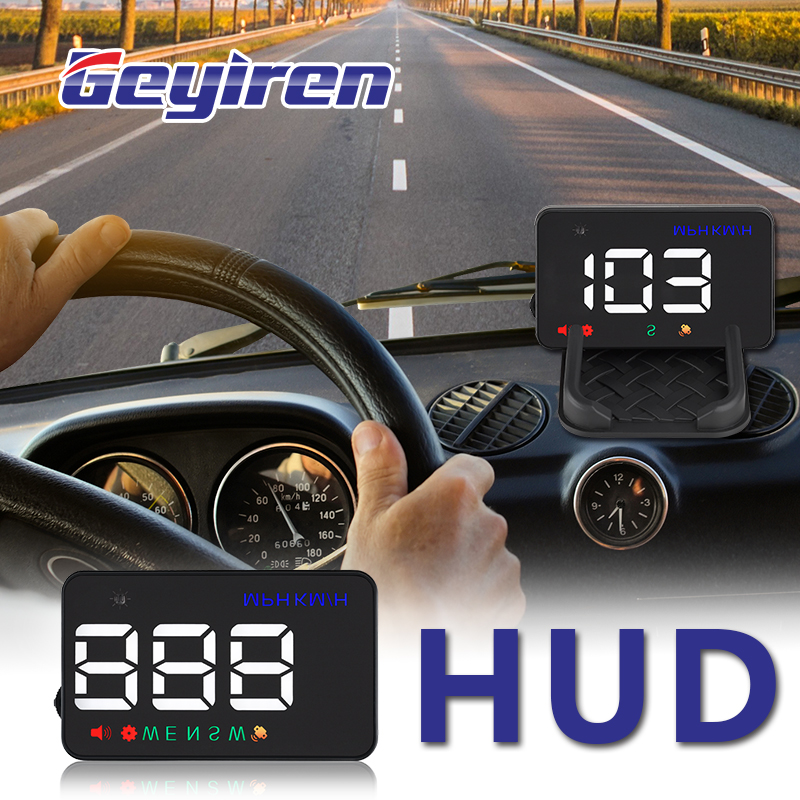 GEYIREN satellite Newest A5 HUD GPS speedometer car hud head up display KM/h MPH For Car Bike Motorcycle Auto Accessories