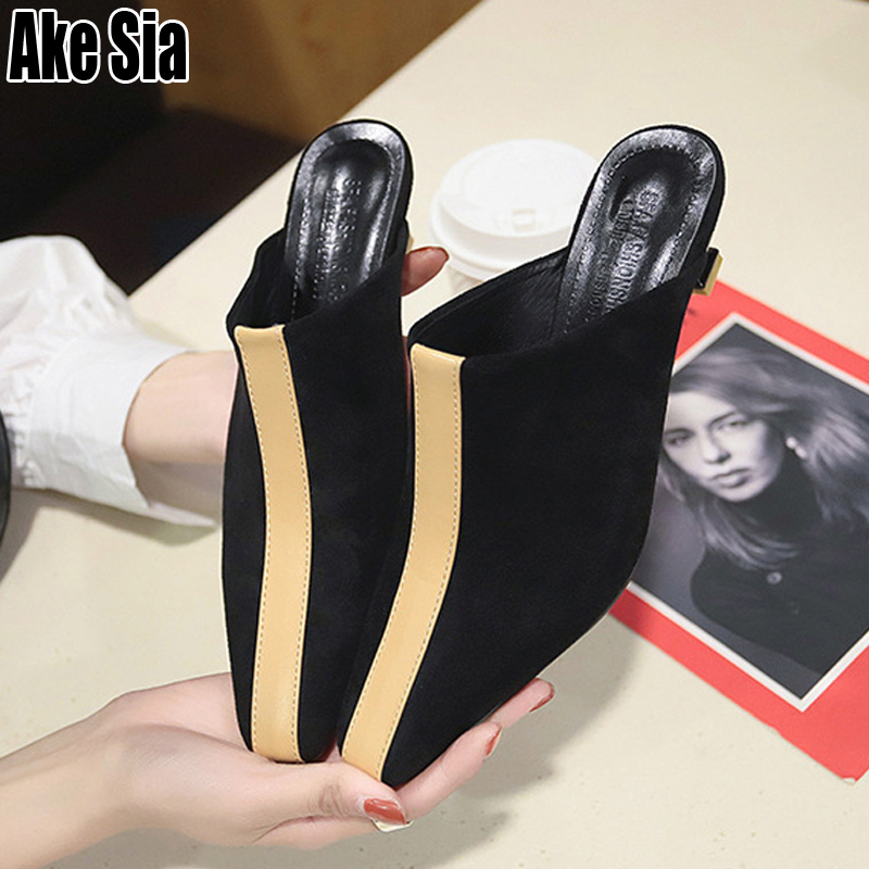 Women Fashion Casual Pointed Toe Female Mujer Lady Woman Half Mules Slippers Med Stilettos Heels Loafers Scuff Slides Shoes A533Women Fashion Casual Pointed Toe Female Mujer Lady Woman Half Mules Slippers Med Stilettos Heels Loafers Scuff Slides Shoes A533