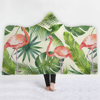 Tropical Flamingo Plant Series Hooded Blanket for Adults Floral Gothic Sherpa Fleece Wearable Throw Blanket Microfiber
