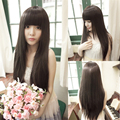 70cm Long Synthetic Natural Straight Full Head Wig Anime Cosplay Synthetic None Lace Wig for Women Lady Heat Resistant