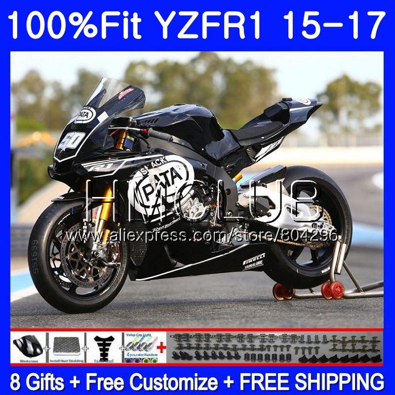 Injeção Kit Para YAMAHA YZF R1 1000 YZFR1 15 16 17 113HM. YZF R 1 2 YZF-1000 YZF1000 YZF-R1 2015 2016 2017 Carenagem em preto Brilhante