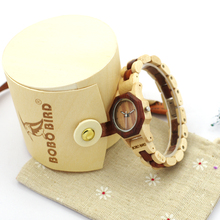 2017 Luxury BOBO BIRD Brand 35mm Women Watch Wood Wristwatches with Wooden Band Female Clock Lady Quartz Watch relogio feminino