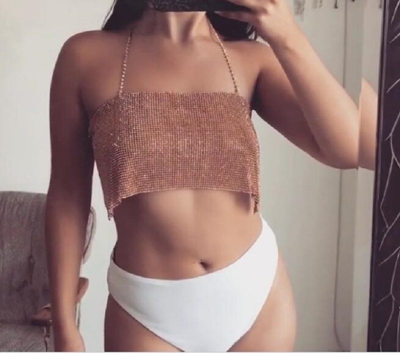 2018 Crystal Diamond Chest Chain Sexy Summer Nuisette Exotic Tanks Women Camis Cropped Bralette Party Club Mujer Top Vest Blusa in Camis from Women 39 s Clothing