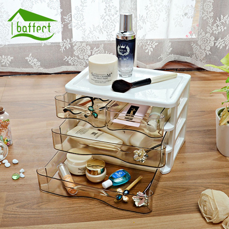 New Plastic Jewelry Boxes Storage Three Layers With Drawer Makeup Case Jewelry Organizer Container Boxes Cosmetic Case