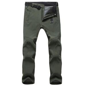 Image 3 - חורף מכנסיים גברים להאריך ימים יותר צמר מעטפת רכה תרמית מכנסיים Mens מזדמן סתיו עבה למתוח עמיד למים צבאי טקטי מכנסיים
