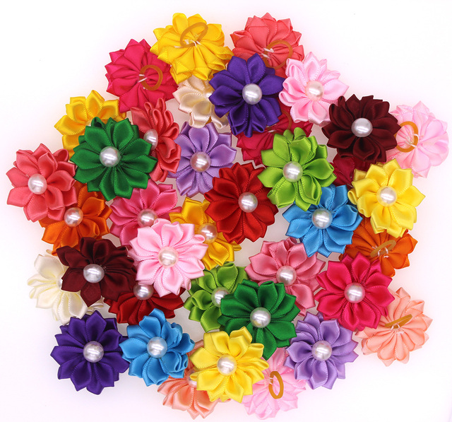 30pcs Pet Dog Puppy Cat Hair Bows Flower with Rubber Bands and ...