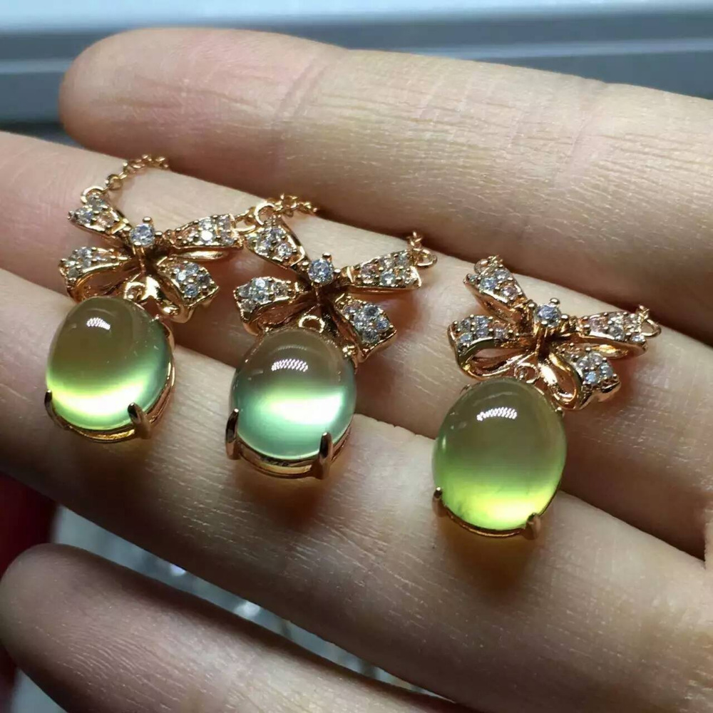 Natural green prehnite stone Necklace natural gemstone Pendant Necklace S925 silver Fashion trendy butterfly Bow Jewelry chainsaw starter handle grip pawl set with spring washer fit stihl 017 018 021 023 025 ms180 ms250 parts