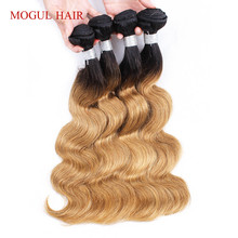 hot deal buy mogul hair t 1b 27 ombre honey blonde indian body wave hair weft 3/4 bundles non remy human hair weave bundles 10-24 inch
