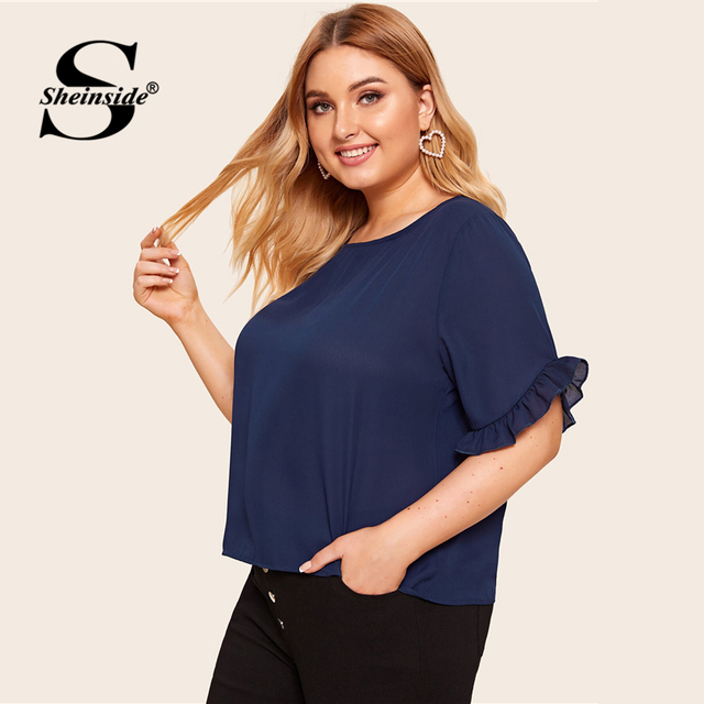 Sheinside Plus Size Navy Flounce Sleeve Chiffon Blouse Women 2019 Summer Short Sleeve Blouses Ladies Solid Minimalist Top 1
