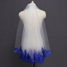 Royal Blue Lovertjes Lace Wit Ivoor Bruidssluier Een Laag Korte Shine Bruiloft Sluier met Kam Velos de Novia