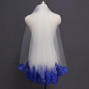 Image 1 - Royal Blue Lovertjes Lace Wit Ivoor Bruidssluier Een Laag Korte Shine Bruiloft Sluier met Kam Velos de Novia