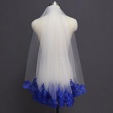 Royal Blue cekinami koronki białe kości słoniowej Bridal Veil jedna warstwa krótka połysk Welon slubny z grzebieniem Velos de Novia