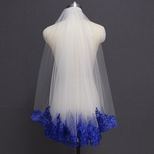 Royal blue véu de noiva com lantejoulas, branco marfim, véu de noiva, uma camada, curto, brilho, véu de casamento com pente