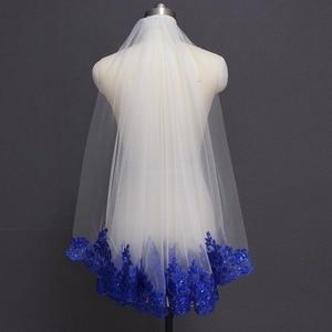 Image 1 - Royal blue véu de noiva com lantejoulas, branco marfim, véu de noiva, uma camada, curto, brilho, véu de casamento com pente