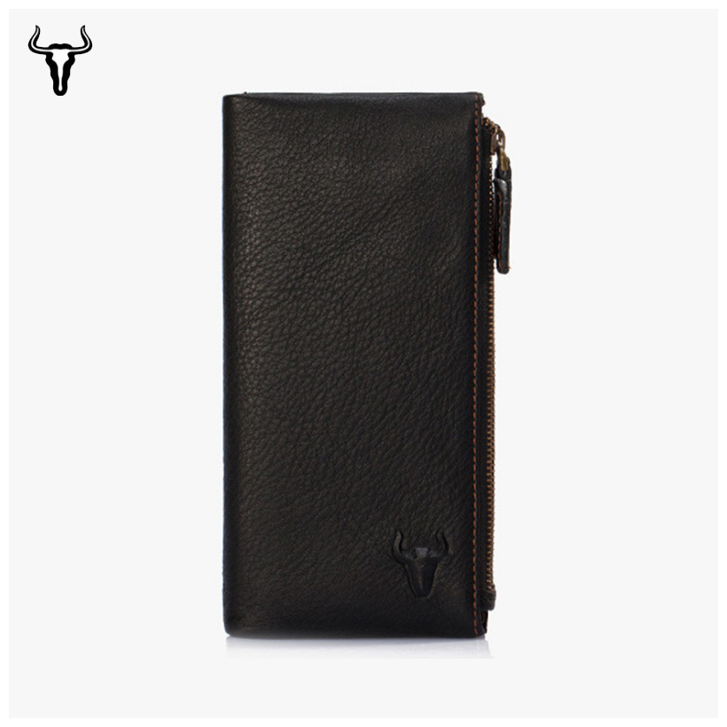 Mingclan Genuine Leather Men Women Wallet Female Long Clutch Lady Card Holder Wallet Rfid Money Bag Magic Zipper Coin Purse Bag цена