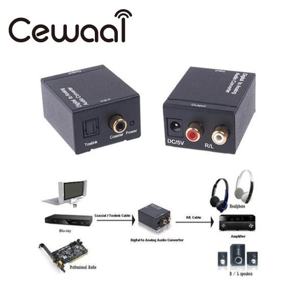 Cewaal Digital Optical Toslink SPDIF Coax To Analog RCA Audio Converter Adapter Black