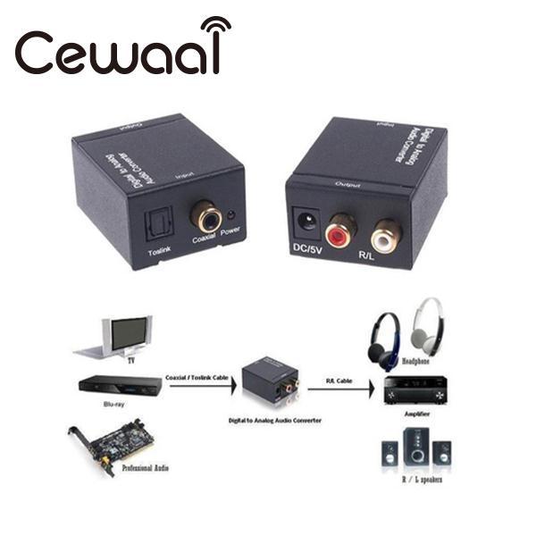 Cewaal Digital Optical Toslink SPDIF Coax-analog-l RCA Audio Converter Adapter Schwarz