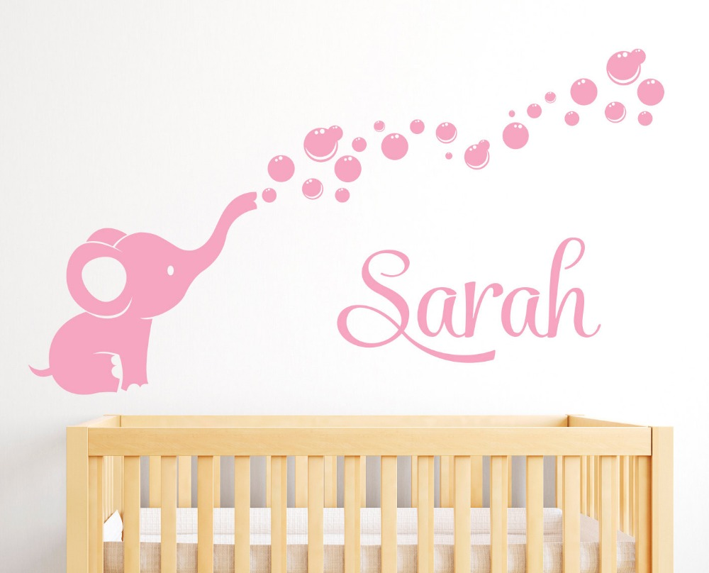Soft Pink Vinyl Wall Decals For Girls Boys Bedroom Baby Nursery Wall Art Sticker Names