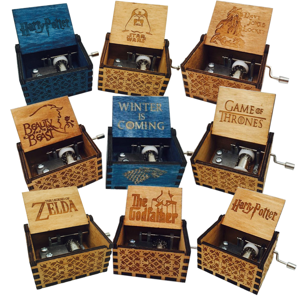 купить Antique Carved wooden Harry Potter Music Box Game of thrones Hand operated Musical Boxes star wars Caja de musica drop shipping по цене 314.55 рублей